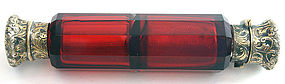 Double ended ruby glass perfume scent bottle, Victorian
