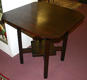 L &amp; JG Stickley square oak lamp table, Arts and Crafts