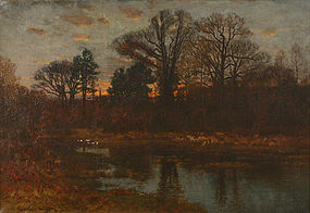 John J. Enneking painting - Autumn wooded landscape
