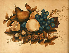American folk art theorem painting with fruit