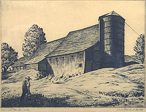 Alice Standish Buell etching - Vermont Landmark, signed