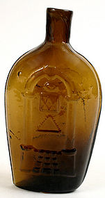 Masonic and eagle Keene glass flask, early 19th century