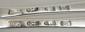 Pair Hester Bateman sterling silver table spoons