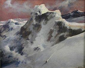 Eric Sloane painting of a lone alpine skier