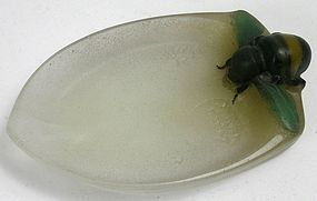 Almeric Walter pate de verre glass bumble bee ring dish