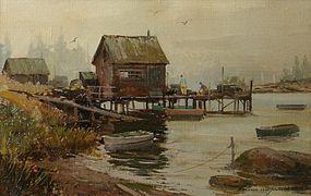 Bernard Corey painting - Misty Harbor, Repairing traps