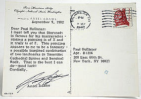 Ansel Adams autograph on post card re Albert Bierstadt