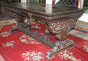 Renaissance Revival walnut library table, c.1875-1900