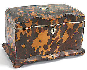 Regency tortoiseshell tea caddy, English, c.1820