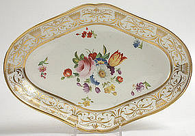 Hand painted porcelain dessert dish, English, c.1815